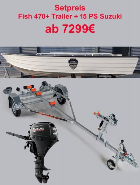 ALUCREST Fish 470  Set  15  PS Suzuki + Trai - Bild 1