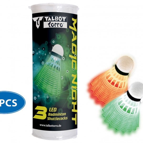 Talbot-Torro Badm.-Ball MAGIC NIGHT LED,3er Dose Badmintonball