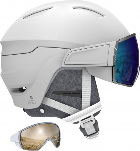 Salomon Helm MIRAGE+ White/Blue Solar M 56 Skihelm